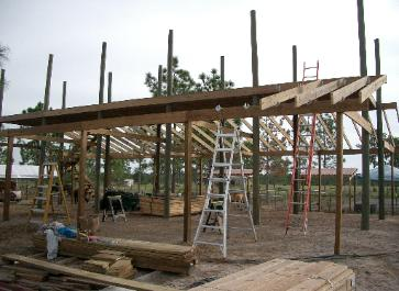Starting rafters on West side, East side done.