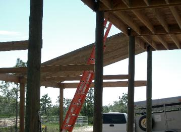 Side roof rafters going up.