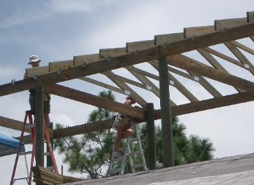 Roof trusses going up.